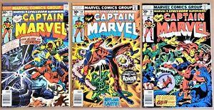 CAPTAIN MARVEL LOT #48, 49, 50 (Marvel:1977) Bronze Age FN/VF 7.0 to VF 8.0