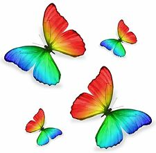 Set 4x sticker decal car laptop macbook kitchen butterfly rainbow colored room