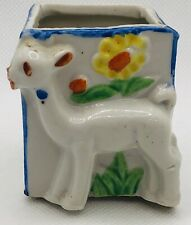 New listing Vintage Hand Painted Match Or Toothpick Holder - Adorable Deer - Made In Japan