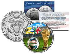 2014 FIFA WORLD CUP BRAZIL Brasil Soccer Football JFK Half Dollar US Coin w/COA