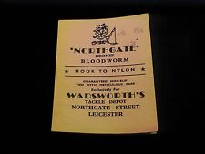 VINTAGE NORTHGATE BRONZE BLOODWORM HOOK TO NYLON WADSWORTH'S TACKLE LEADERS