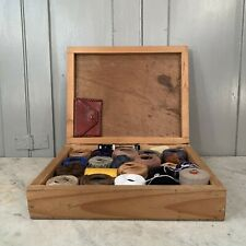 Vintage wooden boxful of embroidery wools sewing threads