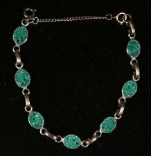 Fine Old China Chinese White Metal & Green Glass Bracelet ca. early 20th century