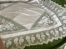 "More details for exquisite irish linen tablecloth deep crochet lace border & inserts 66""74"" fruit"