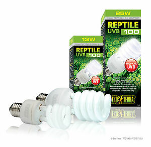 Reptile UVB 100 Sparlampe Exo Terra Repti Glo 2.0 13W 25W Reptilienbeleuchtung