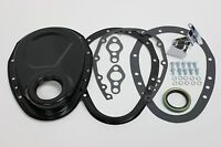 SB Chevy Black 2 Piece Timing Chain Cover Kit 305 350 383 400 SBC Small Block