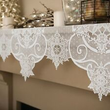 """White Heritage Lace Snowflake 60"""" Wide X 20"""" Drop 3-Way Free Shipping"""
