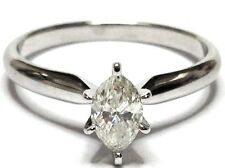 Marquise .50ctw Diamond Solitaire Engagement 14K White Gold Ring I2 I-J GVM5129