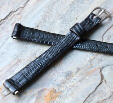 Ladies Long 10mm vintage watch band Genuine Teju Lizard strap NOS by Speidel USA
