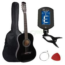 "New 38"" Black Acoustic Guitar +Pick +Extra string +Case +Digital Tuner"
