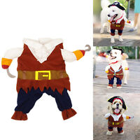 Pet Small Dog Cat Pirate Costume Outfit Jumpsuit Cloth for Halloween ChristmWG