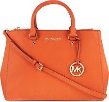 NWT Michael Kors Sutton Medium Saffiano Leather Satchel Clementine ColorBag $328
