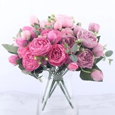30cm Rose Pink Silk Peony Artificial Flowers Bouquet 5 Big Head and 4 Bud Cheap