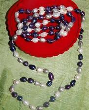 XXL PERLENKETTE  KETTE* 4 Color + Ohrstecker*120 cm L Perlen Naturwuchs*Geschenk