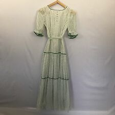 Vintage 70s Boho Hippie Maxi Dress Green Contrasting Stripes Rick Rack Trim S