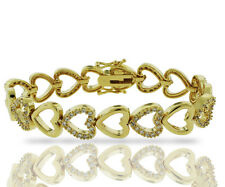14K Gold Plated 2.00 CTW Cubic Zirconia Double Heart Tennis Bracelet-Made in USA