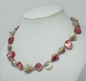 """CREAM / PINK / RED MOTHER OF PEARL NECKLACE ~ 925 STERLING SILVER 19.5"""""""