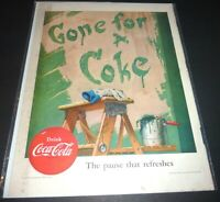 COKE AD  COCA-COLA  1952  THE PAUSE THAT REFRESHES GONE FOR A  COKE  DRINK COKE
