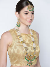 Indian Bollywood Green Raani Haar Necklace Earring Maang Tikka Jewelry Diwali