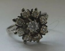 Antiguo Oro 18k Diamante Daisy 1930s Art Deco Cluster Anillo