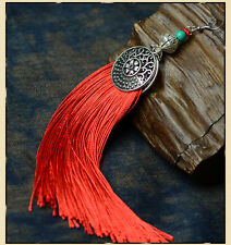 Red Tassel & Silver Plated Hollow Round Shape Earring