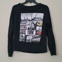 On Fire Black Graphic New York Long Sleeve Shirt Size L