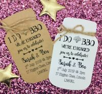 """I DO """"BBQ"""" Engagement Party Invitation Save The Date Card, Mason Jar"""