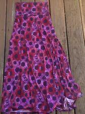 Lularoe Maxi Skirt Purple Pink Red Geometric Circles XS Extra Small Stretch Knit