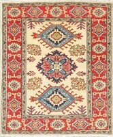 "3'x4' Geometric IVORY Kazak Pakistan Oriental Hand-made Wool Rug 3' 6"" x 2' 9"""