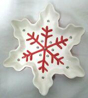 "Hallmark Snowflake textured Candy Dish Bowl Christmas red & white 8"" Dish Safe"