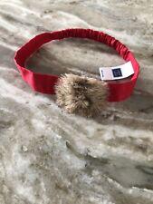 Janie and Jack Red Faux Fur Pom-Pom Hair Bow Headband Baby One Size