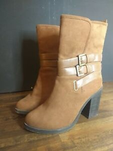 LADIES NEW LOOK GORGEOUS BROWN Faux Suede MID CALF BOOTS SIZE 8 UK