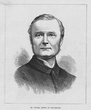 Dr JAMES FRASER Bishop of MANCHESTER - Antique Print 1870