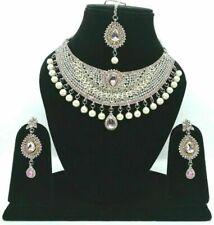 Pakistani Kundan Zircon Silver Plated Light Pink Necklace Earrings Tikka Jewelry