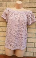 PEACOCKS PALE PINK LILAC CROCHET THICK LACE SHORT SLEEVE BARDOT TOP BLOUSE 12 M