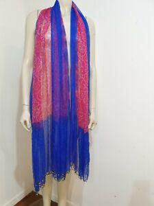 Pink Blue Pure Silk Scarf Shawl Metallic Embroidery Beaded Fringe Craft Fabric