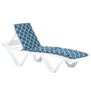 Master Sun Lounger Cushion Padded Outdoor Patio Garden Mattress Navy Moroccan