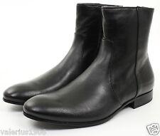 $370+ BNIB CALVIN KLEIN Collection Black Calfskin Zip Ankle Boots (EU 44, US 11)