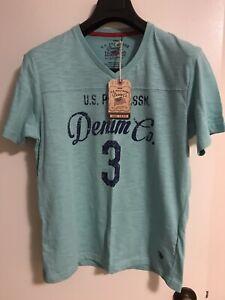 US Polo Assn Men V-Neck T-Shirt Aqua New (M)
