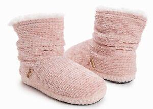 MUK LUKS Plush Chenille Rubber Bottom Boot Slippers Women's Sz 9-10 or 11-12 NWT