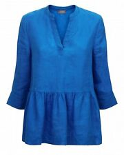 Jaeger Gathered Waist Sleeved Linen Top - U.K. 16 - Blue - Brand New With Tags