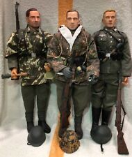 GI JOE SIZE, DRAGON GERMAN WWII ACTION FIGURES LOT (3) VERY POSABLE, WITH GEAR!