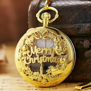Merry Christmas Music Pendant Men's Quartz Pocket Watch  with gift box