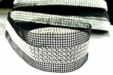Clearance! 4-Row Rhinestone Banding on Black Net/ Mesh - 9.1 Metres