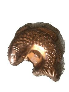 Vintage Copper Fish Mold Or Wall Hanging - Size 11'