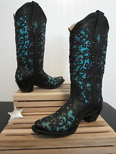 Women's Corral Black Turquoise Cobra Inlay Cowboy Boot A1043 Size 6.5 M