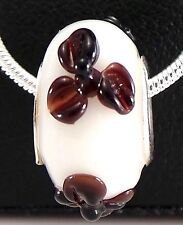 925 Solid Sterling Silver Glossy Black Flowers On Milky White Murano Glass Bead