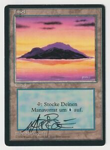 Miscut Signed German Island MP/HP Revised Foreign FBB Artist Mark Poole 1994 MTG