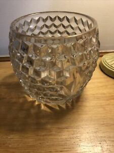 Vintage Glass Vase Pressed Glass Barrel Shape