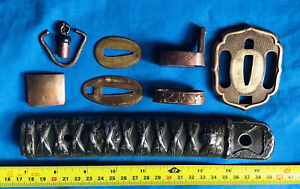 Genuine japanese WW2 katana parts-handle,guard,etc